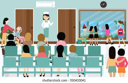 busy hospital corridor activities nurse patient in queue