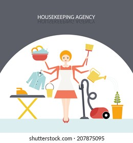 Busy housekeeper simultaneously doing many tasks around the house. Young pretty girl doing house work. Illustration of housekeeping agency.