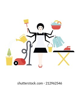 Busy housekeeper simultaneously doing many tasks around the house. House work concept illustration made in vector. Young pretty girl doing house work. Vector character.