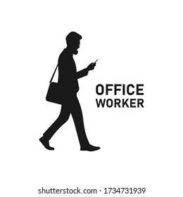Busy male worker walking and looking at smartphone silhouette. Man staring and holding phone. College student. Corporate guy logo. Businessman concept. Social media business vector illustration.