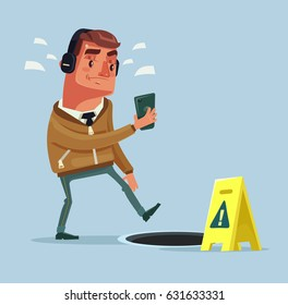 Busy man character going on the street listening to music by smart phone and did not see open manhole. Vector flat cartoon illustration
