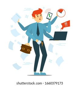 Busy man trying to do many things at once vector isolated. Stressful multitasking person and deadline. Overworked male character with phone, laptop and documents. Too much work.