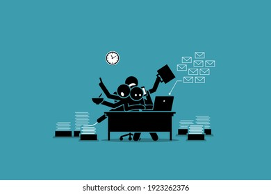 Busy man working in the office and overwhelmed by work. Vector illustration concept of businessman getting exhausted, tired, too much work, overworked, and overtime.