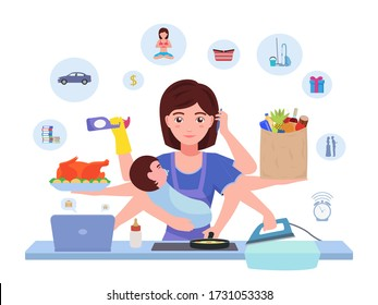 Busy mom. Cartoon character multitasking super mother with baby doing household chores. Vector illustration woman busy mom housewife is doing housework. Housewife juggles household stuff.