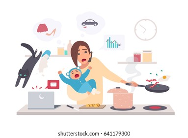 Busy mother with baby, multitasking woman. Motherhood cartoon flat illustration.
