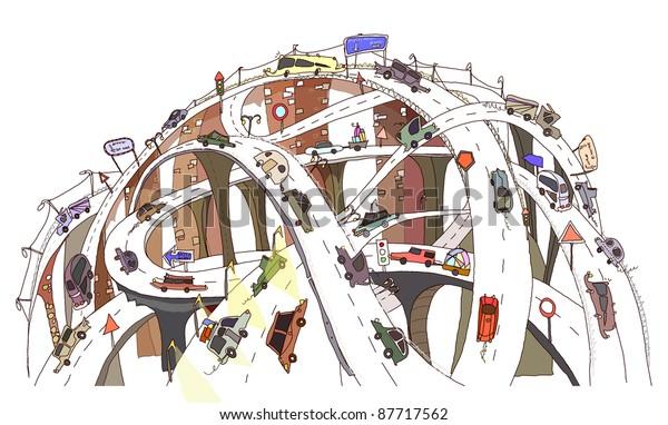 Busy motorway junction