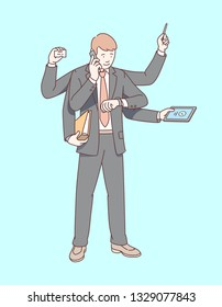 Busy multitasking business man executive manager with six arms standing, working, doing many actions at once. Successful multi-task time management skill concept. Flat line businessman illustration