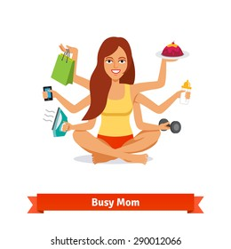 Busy multitasking woman and mom concept. Doing all house work and taking care of baby. Flat style vector illustration.