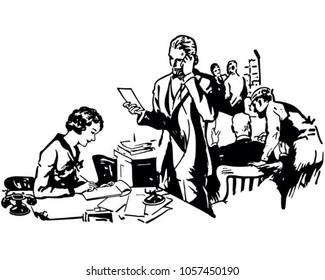 Busy Office Scene - Retro Clip Art Illustration