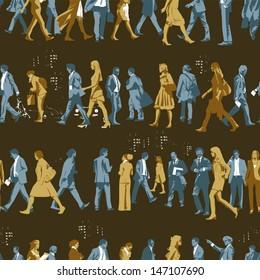Busy People Motif Seamless Pattern