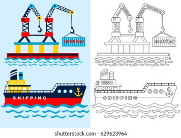 busy port for coloring page or book, vector cartoon