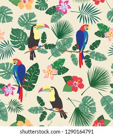Busy seamless repeat pattern with tropical flowers, leaves and birds on a cream background. Colorful exotic island beach vibes