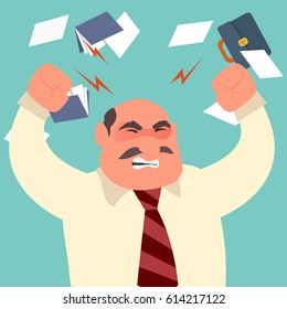 Busy time of angry businessman in hard working. A lot of work. Stress at work. Vector Illustration