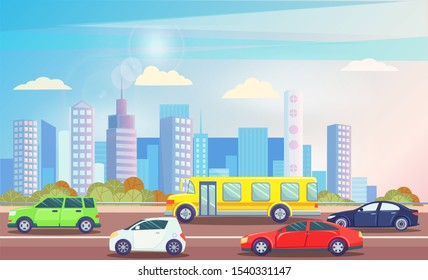 Busy traffic road with colorful cars and with office building, skyscrapers on background. Yellow bus, public transport. Vehicles on street vector illustration