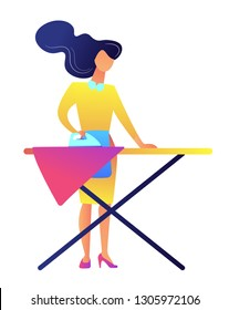 Busy woman ironing clothes on the board after laundry vector illustration. Housewife and household chores, housework and routine, cleaning service concept. Isolated on white background.
