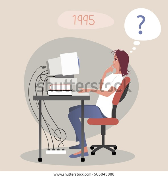 Busy woman working and thinking about computer problem. Year 1995. 90s Style
