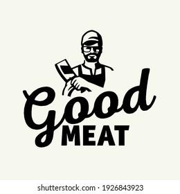 Butcher Beard logo design, Beard logo. Logo template for the meat industry - shop, market, restaurant or graphic design.