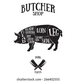 Butcher cuts scheme of pork.Hand-drawn illustration of vintage style