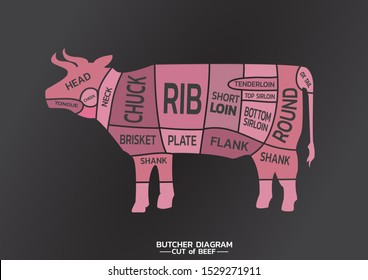 The butcher guild diagram cut of beef