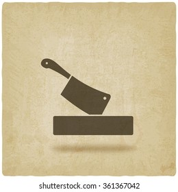 butcher knife in chopping board old background. vector illustration - eps 10