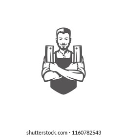Butcher man holding knifes silhouette vector illustration. Butcher shop graphics isolated on white background.