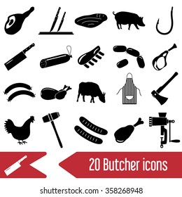butcher and meat shop black icons set eps10