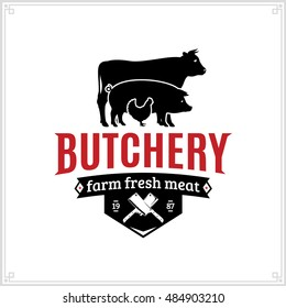 Butcher shop black and red logo with farm animals and knives