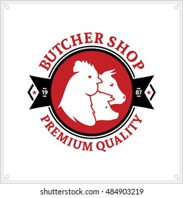Butcher shop black and red logo with farm animal icons