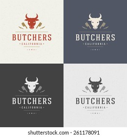 Butcher Shop Design Element in Vintage Style for Logotype, Label, Badge, T-shirts and other design. Cow face and knife retro vector illustration.