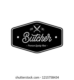 Butcher shop emblem. Butchery store advertising design element. Meat shop typography. Vector vintage illustration.