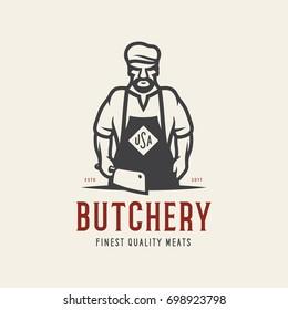 Butcher shop emblem. Butchery store advertising design element. Meat shop label. Vector vintage illustration.