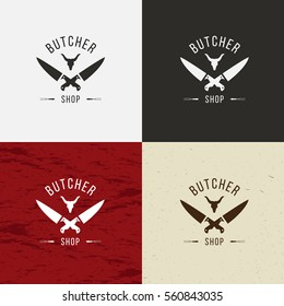 Butcher Shop icon, vector Butcher Shop logo, isolated Butcher Shop emblem. On white, black, crafting and meat background