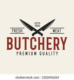 Butcher shop labels badges emblem. Butchery store advertising design elements collection. Meat shop typography. Vector vintage illustration.