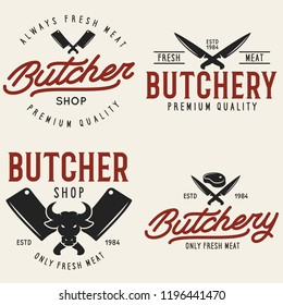 Butcher shop labels badges emblems set. Butchery store advertising design elements collection. Meat shop typography. Vector vintage illustration.