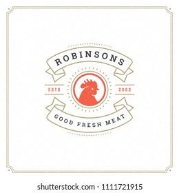 Butcher shop logo design vector illustration. Rooster head silhouette, good for farm or restaurant badge. Vintage typography logotype template.