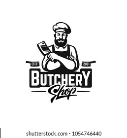Butcher shop logo emblem for design. Vector illustration.