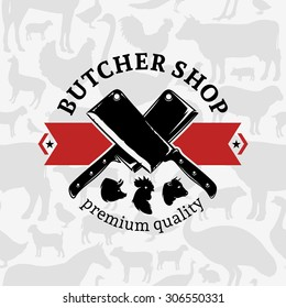 Butcher shop logo, farm animal seamless pattern