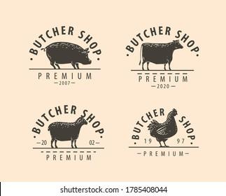 Butcher shop logo or label. Farm natural meat, food concept