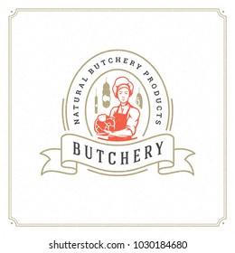 Butcher shop logo vector illustration. Chef holding meat silhouette, good for farmer or restaurant badge. Vintage typography emblem design.