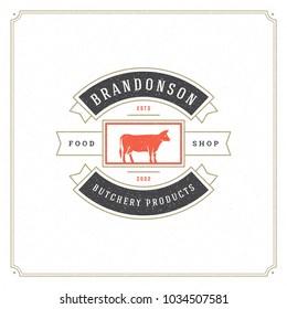 Butcher shop logo vector illustration. Cow silhouette, good for farm or restaurant badge. Vintage typography emblem design.