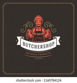 Butcher shop logo vector illustration. Chef holding sausages silhouette, good for restaurant menu badge. Vintage typography emblem design.