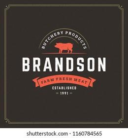 Butcher shop logo vector illustration. Pig silhouette, good for farm or restaurant badge. Vintage typography emblem design.
