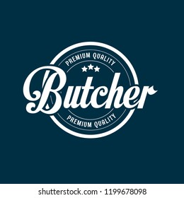 Butcher shop logo vector. Butcher quality stamp.