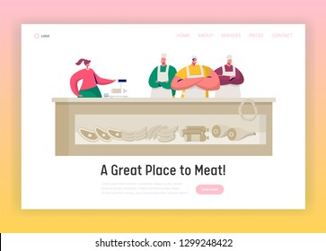 Butcher Shop Market Shopkeeper Landing Page. Butchery Retail Business Stand. Supermarket Owner sell Local Farm Beef Meat Concept for Website or Web Page Flat Vector Cartoon Illustration