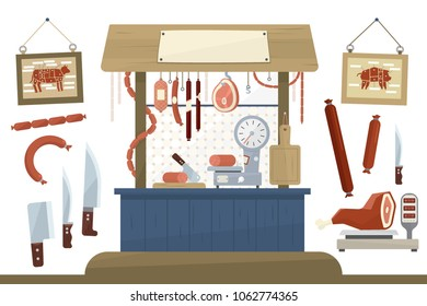 Butcher shop, meat assortment and equipment for cutting meat vector Illustration
