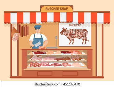 Butcher Shop. Meat Man Seller. Store shelves with pork meat, veal and ham, salami slices, sausage, bacon and beef. Fresh steak.