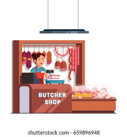Butcher shop owner woman working as cashier at checkout counter and scales. Showcase full of local meat products & sausages. Small retail business. Flat style vector illustration isolated on white.