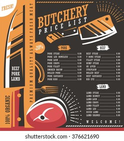 Butcher shop price list vector design. Meat menu butchery creative ad or banner template. Graphic design layout. Fresh food cover design on dark background.