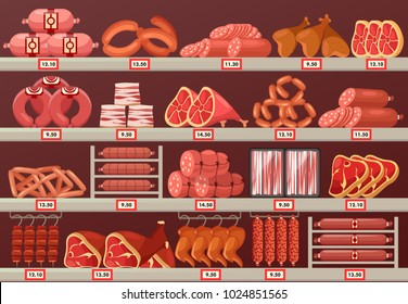 Butcher shop showcase with prices. Meat product store or market stand or stall with sausage and cattle ham, kielbasa or sliced wurst, smoked chicken leg and beef steak. Food and trade theme