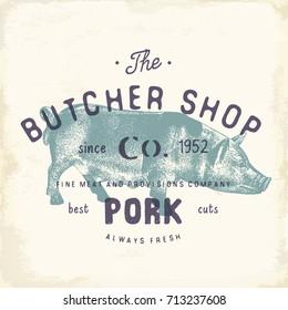 Butcher Shop vintage emblem pork meat products, butchery Logo template retro style. Vintage Design for Logotype, Label, Badge and brand design. vector illustration